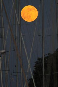 L'île de Procida, Italie / super lune 10 août 2014