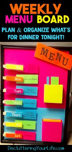 Organize weekly meals for families dinners - DIY menu planning - plan dinner for a week - plan meals for a week menu planners - How to make an easy DIY menu board weekly planner for wall Spice Organization, Planning And Organizing, Home Organization Hacks, Organizing Your Home, Organizing Clutter, Getting Organized At Home, Organized Mom, Weekly Menu Boards, Meal Planning Board