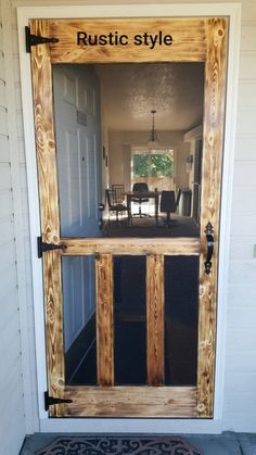 25 different ways to build yourself a new screen door or upcycle an old one. great diy screen door ideas to inspire your creativity. Diy Home Decor Rustic, Farmhouse Decor, Farmhouse Front, Barn Wood Decor, Rustic Patio, Diy Patio, Farmhouse Style, Diy Screen Door, Screen Doors