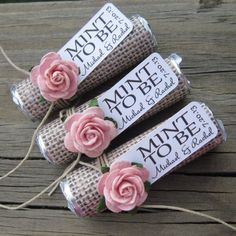 "Wedding favors - Set of 150 mint rolls - ""Mint to be"" favors with personalized tag - burlap, pale pink, rose, rustic, shabby chic"
