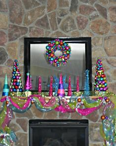 Chapters of our life: deck the halls. Have a very bright neon holiday! Great for a contemporary/modern home! Christmas Fireplace, Christmas Mantels, Christmas Wreaths, Christmas Crafts, Christmas Ornaments, Colorful Christmas Decorations, Whimsical Christmas, Christmas Themes, Christmas Villages