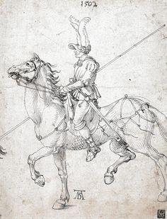 Albrecht Dürer - Lancer on Horseback at Museum of Fine Arts Budapest Hungary Albrecht Dürer, Lead Adventure, Knight In Shining Armor, Modern Warfare, Museum Of Fine Arts, Postcard Size, Art Reference, Renaissance, Paper Texture