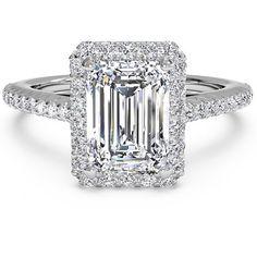<li>Emerald-cut square halo diamond engagement ring</li> <li>14-karat white gold jewelry</li> <li><a href='http://www.overstock.com/downloads/pdf/2010_RingSizing.pdf'><span class='links'>Click here for ring sizing guide</span></a></li>