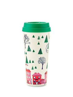 whether you fancy hot lattes or iced hibiscus tea, take it to go in this thermal mug, accented with a festive alpine scene. the bpa-, phthalate- and lead-free interior means you can sip and savor safe