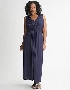 A style essential for sunny days, our knit maxi dress is back and better than ever with a chic, knotted front and beautiful, figure-flattering drape. Sleeveless with a sexy V-neck and V-back. Simply add your favorite accessories and you've got a feminine look that goes anywhere. lanebryant.com