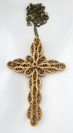 Quilled golden cross pendant  hand crafted by Herpaperparadise