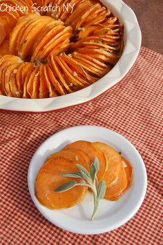 Scalloped Maple Sage Sweet Potatoes - Perfect side dish for #Thanksgiving