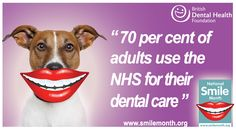 "National Smile Month Fact Card: ""70 per cent of adults use the NHS for their dental care"" #NSM is the UK's largest oral health campaign. Something to make you smile - http://www.nationalsmilemonth.org/page/downloads"