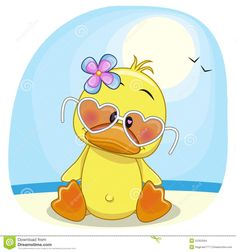 Illustration of Cute Duck girl in sunglasses on the beach vector art, clipart and stock vectors. Duck Drawing, Image Deco, Belly Painting, Cute Clipart, Whimsical Art, Rock Art, Cute Cartoon, Cute Drawings, Cute Wallpapers