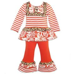AnnLoren Baby Girls Boutique Orange Striped Tunic Pants Outfit 12-18M, Girl's, Size: 12-18 Months