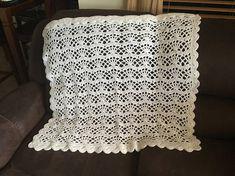 White vintage style crochet christening/crib baby blanket