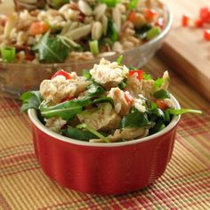Chicken and Rice Salad with Arugula, Almonds and Sesame Dressing