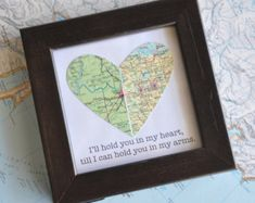 Gift for Boyfriend Long Distance Map Heart with Custom от ekra