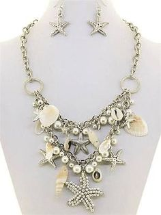 Chunky Pearl Shell Silver Chain Necklace Earring Set Fashion Costume Jewelry