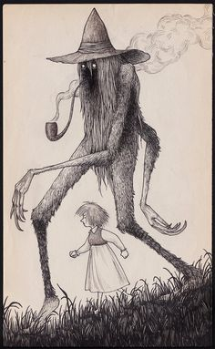 Forest friend by John Kenn Monster Drawing, Monster Art, Arte Horror, Horror Art, Creepy Drawings, Art Drawings, Image Triste, Arte Obscura, Bizarre Art