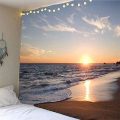Seaside Sunset Waterproof Hanging Tapestry