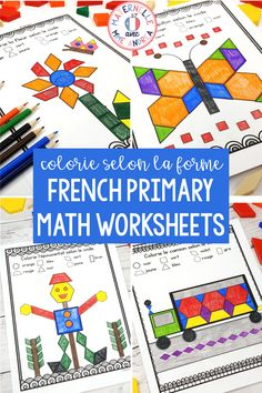 French Shapes - Colour by Shapes MATH Worksheets (Les formes) Primary Activities, Math Resources, Violet Rouge, 2d And 3d Shapes, Math Blocks, French Colors, Shapes Worksheets, French Resources, French Immersion