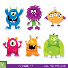 Fun MONSTERS Clipart Illustrations, INSTANT DOWNLOAD Clip Art Icons Scary Halloween Vector File Graphics