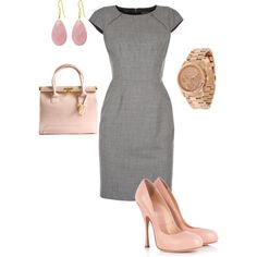 gray and pink - Office Outfits Mode Chic, Mode Style, Style Me, Work Fashion, Fashion Outfits, Womens Fashion, Fashion Fashion, Top Mode, Style Feminin
