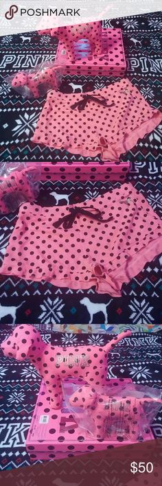 "PINK Dog Bundle Cute and Rare collectible set. Includes NEW Pink polka dot Large dog and matching regular sized dog. Also throwing in the matching sleep shorts. These were bought new from another seller, but it has a line through the inside tag and a ""stamp"" on the backside that may be able to wash off, I just didn't try. Shorts are Small. PINK Victoria's Secret Other"