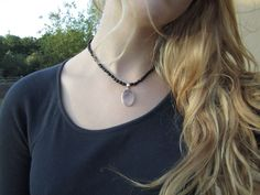 Black agate necklace with fluorite via P H O E N I X M O O N // S H O P. Click on the image to see more!