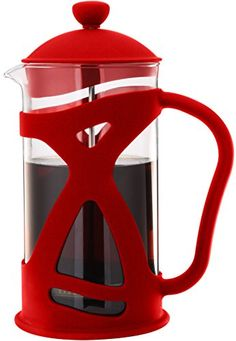 Sunlit French Press Coffee Maker, Red, 4 Cup (1 L), Brew Your Perfect Cup of Coffee with Style - Commute Coffee Espresso Maker, Espresso Coffee, Best Coffee, Coffee Cups, French Press Coffee Maker, French Coffee, Coffee Island, Glass Teapot, Heat Resistant Glass