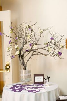 Pretty for a wishing tree/gift table. Adding flowers to the branches to match the wedding colors Wedding 2017, Purple Wedding, Diy Wedding, Wedding Flowers, Dream Wedding, Wedding Colors, Wedding Ideas, Wishing Tree Wedding, Deco Table