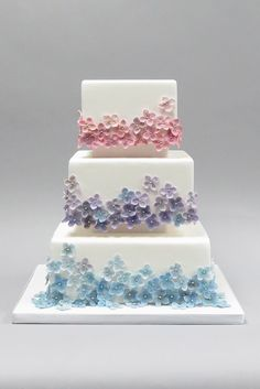 Beautiful Cake Pictures: Tiers of Tiny Pastel Flowers on White Cake - Birthday Cake, Flower Cake, Wedding Cakes - Bolo Floral, Floral Cake, Fondant Flower Cake, Fondant Cakes, Flower Cakes, Cake Fondant, Fondant Figures, Gorgeous Cakes, Pretty Cakes