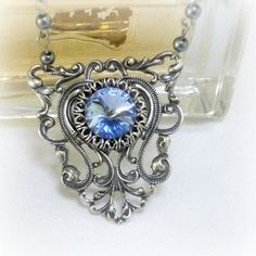 Victorian Necklace Swarovski Light Sapphire Sky by pink80sgirl, $45.00