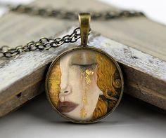 Gustav Klimt NecklaceBeautiful Antique Bronze van jade4wood op Etsy