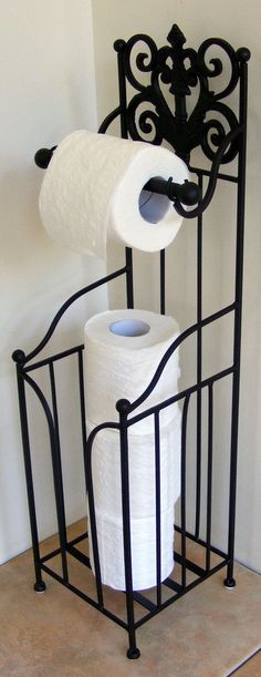 Wrought Iron Toilet Roll Holder - French Free Standing Brown Black Min SEC BA88