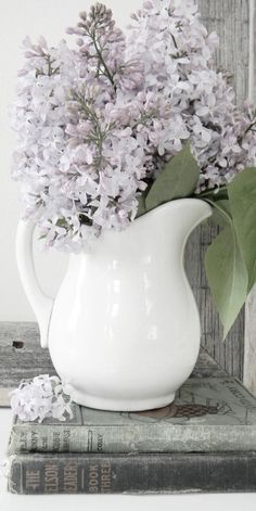 White jug with lilac