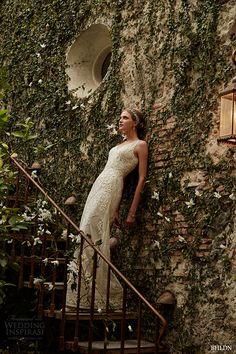 bhldn spring 2015 bridal sleeveless plunging v neckline filigreed embroidery bodice sheath ivory wedding dress alhambra