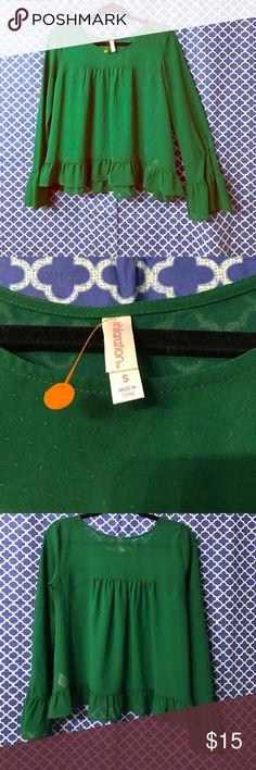 Super cute sheer green ruffle blouse Green sheer top with ruffle bottom and sleeves Xhilaration Tops Blouses