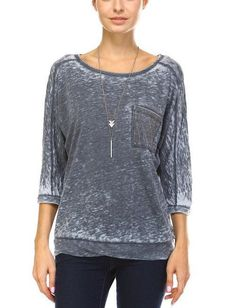 Burnout, 3/4 Dolman Sleeve Top in Gray