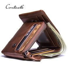 Compare Discount CONTACT'S Genuine Crazy Horse Leather Men Wallets Vintage Trifold Wallet Zip Coin Pocket Purse Cowhide Leather Wallet For Mens Cowhide Leather, Leather Men, Leather Label, Leather Shoes, Leather Handbags, Leather Jacket, Crazy Horse, Leather Trifold Wallet, Best Wallet