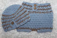 Striped Newborn Beanie and Diaper Cover Set by SweetnessInSmyrna, $39.99