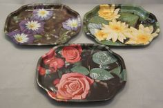 Set of 3 floral metal trays by Elite Trays (England) for Canape - Sandwich - Snacks  #EliteTrays #Canape #Ebay #UnderTheRoofTreasures #AllThingsEngland
