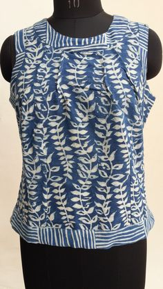 Summer top. khadi homespun, hand weave cotton. natural indigo mud resist block print.