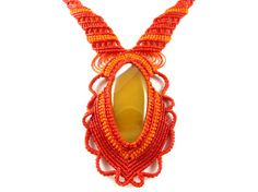 Thai Necklace Agate Red Macrame Collier Choker by ValaddaJewelry