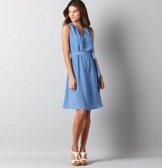 Loft Blue Safari Button Front Dress