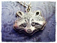 Silver Raccoon Face Necklace