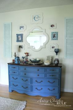 Gallery Wall (Decorating Challenge) - Aubusson Blue Dresser - #gallerywall artsychicksrule