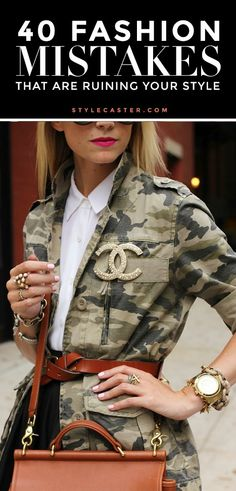 Ideas to Wear a Chanel Brooch Camo Fashion, Fashion 101, Fashion Tips For Women, Fashion Advice, Fashion Beauty, Fashion Trends, Fashion Design, Ladies Fashion, Style Fashion