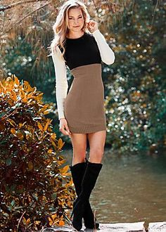 Color Block Sweater Dress $26                                         Tie Back Boot $36