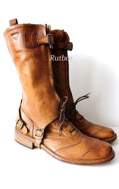 ✔ Belstaff RALLYMASTER MAN BOOT Herren Boots 42 757335 2 in 1 ANTIQUE CUERO