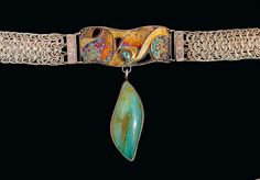 """Rivers of Gold V by victoria, via Flickr - Granulation, Chased, Pierced, Kum Boo, and Side Weave Mesh Choker, Sterling & Fine Silver, 24K Gold, Peruvian Opal, Koroit Opal  center: 4"""" long, choker adjustable to 15"""", Victoria Lansford Jewelry Art, Jewelry Necklaces, Fine Jewelry, Jewellery, Turquoise Jewelry, Turquoise Bracelet, Peruvian Opal, Blue Opal, Chokers"""