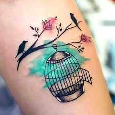Colorful Birdcage Tattoo Idea