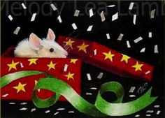 Happy New Year Mouse Art by Melody Lea Lamb ACEO by MelodyLeaLamb, $6.25