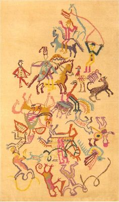 Art Deco, Ecuador, Early 20th Century - The weave of this carpet is remarkably similar to Chinese examples, although the subject matter is purely South American or Argentine. A great circular array of hunters move in on their quarry - ostriches and wildcats.  The drawing is decidedly modern, at once abstract and yet ornamental, in the manner of Chagall. The latter effect is heightened by the pastel palette of reds, lavender, pink, cinnamon, and grey on a pale cream-yellow field.